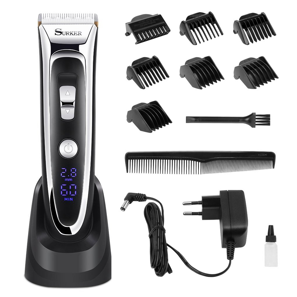 Haarschneider Profi Friseur, Wiederaufladbarer Haarschneider männer mit LCD Power Anzeige Profi Haarschneidemaschine Set Aiskki