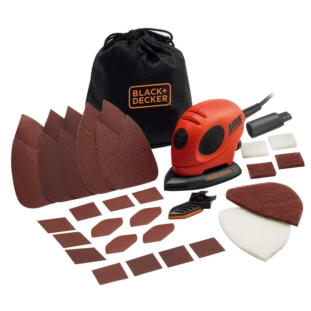 BLACK+DECKER 55 W Detail Mouse Electric Sander with Removable Quick Fit Tips and Sanding Sheets, KA161BC-GB