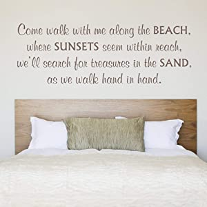 Amazing Vinyl Come Walk with Me Along The Beach Wall Quote Words Sayings Removable Beach Wall Decal Lettering - MM53