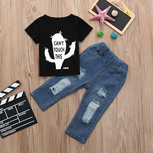 Sleeve Letter Black Toddler Summer T Short Outfits Sets Pants Shirt 2Pcs Kid Boys Hole Tops Junjie Baby New Break Jeans Crewneck Printed Cactus Zgqw8fE