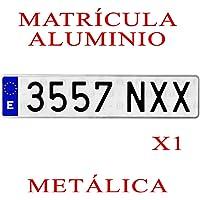 1 MATRICULA Coche Aluminio Metalica Larga Normal Medidas