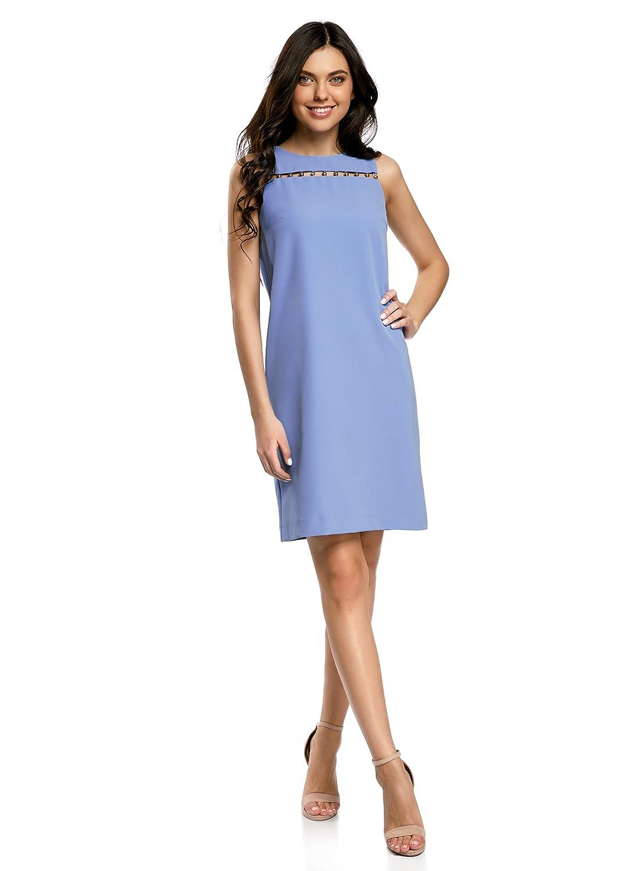 oodji Collection Damen Gerades Kleid mit Metallverzierung