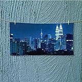 SCOCICI1588 shower towel Kuala Lumpur Skyline at Night KLCC Twin Towers Easy care machine wash L39.4 x W9.8 INCH