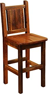 "product image for Fireside Lodge Barnwood Artisan Upholstered Barstool with Back - 30"" Seat Height"
