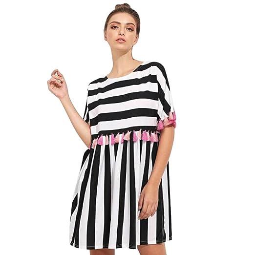 fd9ea6939c6c Image Unavailable. Image not available for. Color  Women s Dress Summer  Stripe Print Short Sleeve Multicolor Tassel Dress Casual Mini Dress