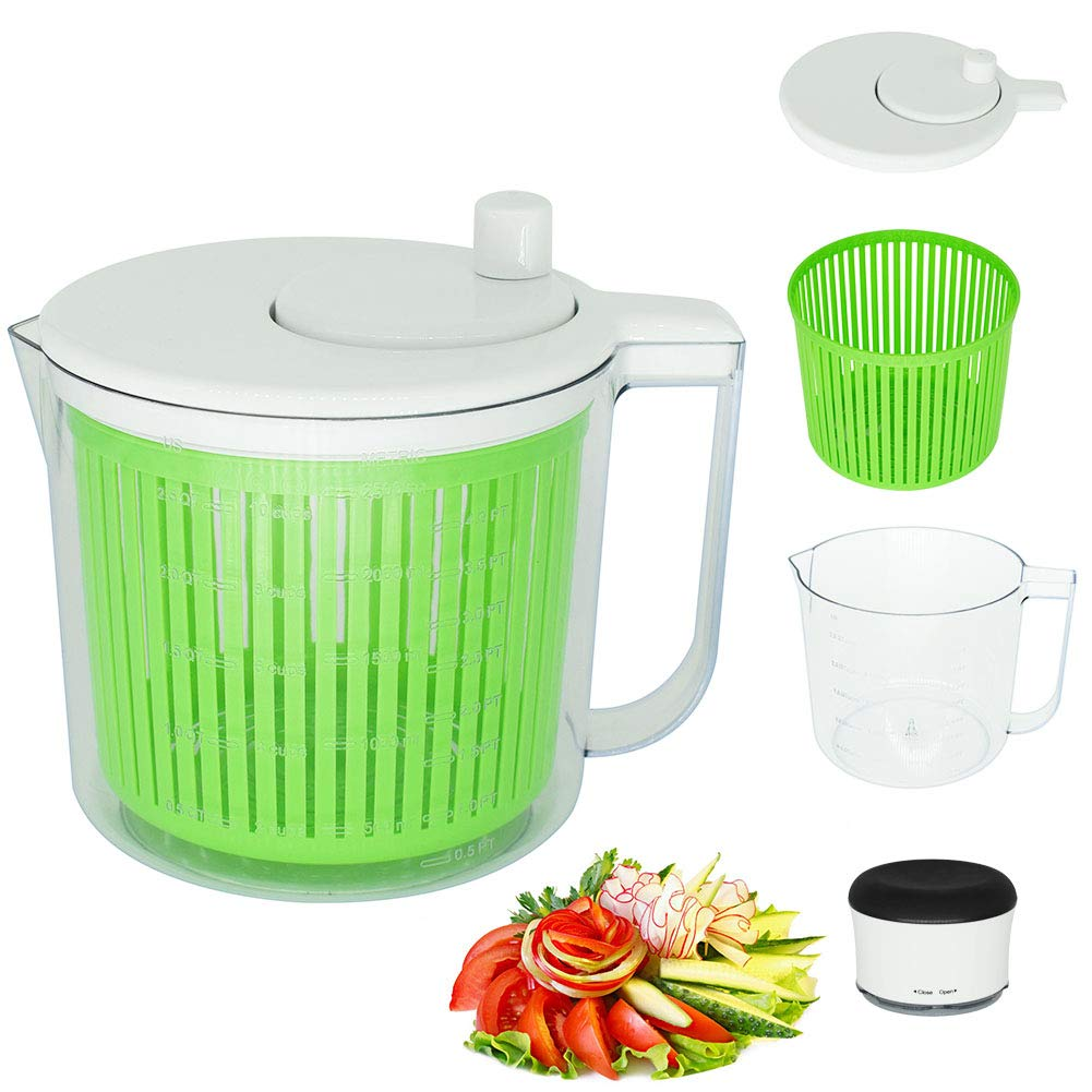 CHEFLY Salad Spinner Food Chopper Set 2.5L Collapsible Lettuce Washer Dryer Mixer Centrifuge Veggie Onion Cutter Crusher with wavy blade S1807
