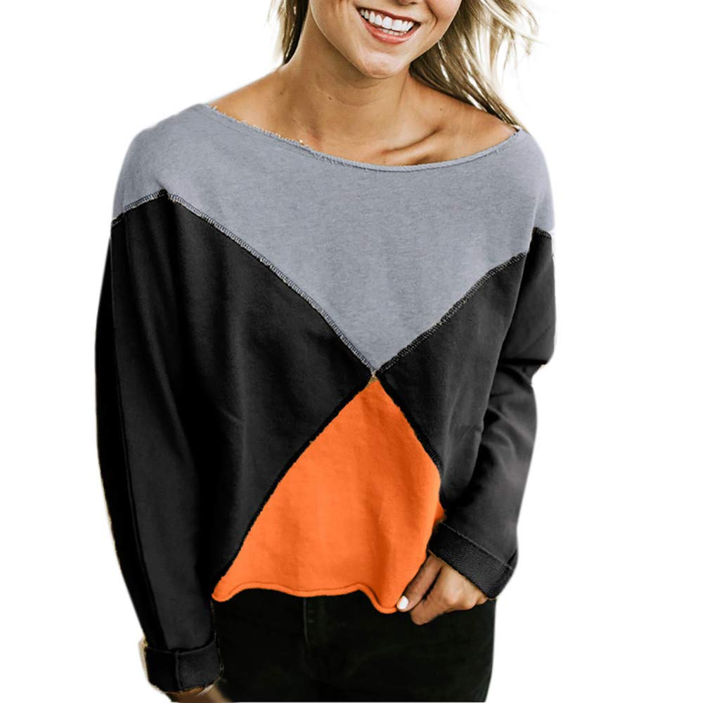 Ulanda Women's Fashion Strapless Long Sleeve Patchwork T-Shirt Blouse Pullover Sweatshirt by Ulanda