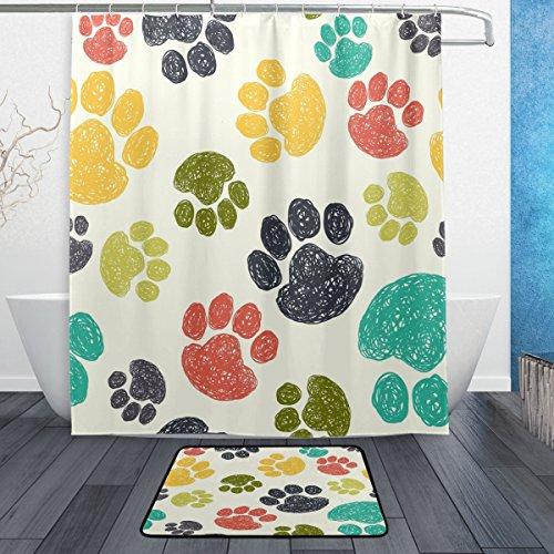 WOZO Cartoon Cute Paw Print Polyester Fabric Bathroom Shower