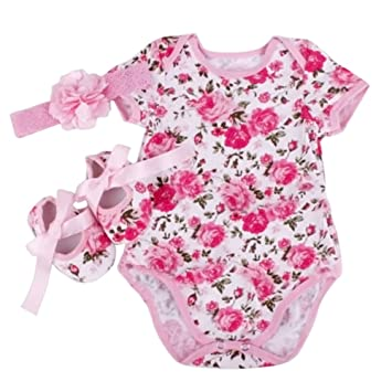 4b17cb5ab903 Healthy Clubs Newborn Infant Baby Girl 3pcs Floral Romper Bodysuit ...