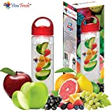 Infusion Water Bottle - by Viva Fresh, Premium 24oz, BPA Free, Colored Fruit Infuser Water Bottles. Create Your Own Naturally Flavored Fruit Infused Water, Juice, Iced Tea, Lemonade & Sparkling Beverages. Designed for Active Sports Men and Women for Workouts, Dieting, Weight loss, Detox, Hiking, Camping, Dinning, Exercise and Fitness. Get a Free Bonus Recipe eBOOK on Every Order.