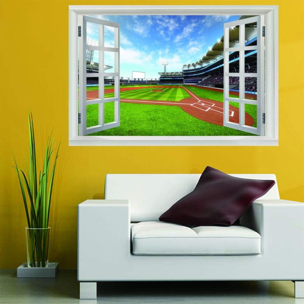 AIRZHANG 3D Fake Window Wallpaper Art Sticker Baseball Field 60X90Cm Wall Decor Stickers PVC Vinyl Waterproof Removable Interior Decoration