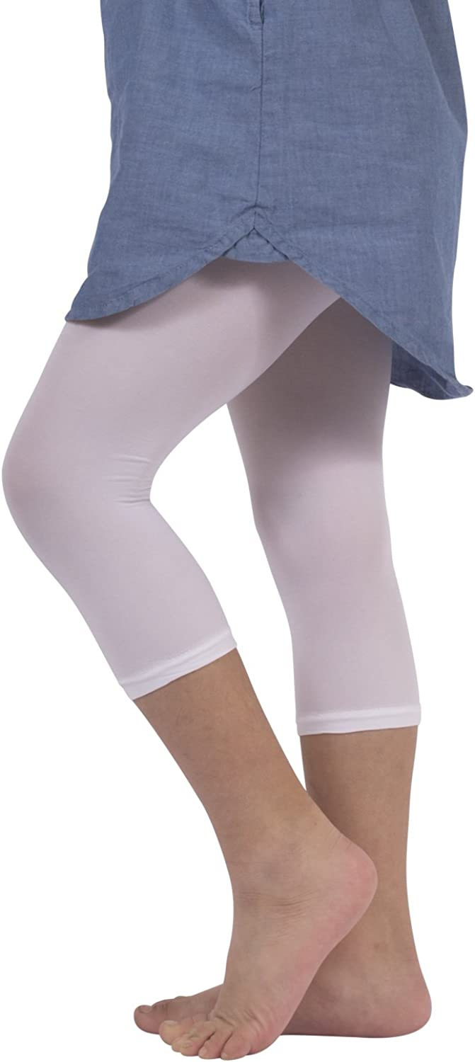 2 Pairs SEMI Opaque Cropped Leggins Baby Footless Thights Italian Hosiery | 50 DEN Black,White