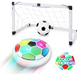 WisToyz Kids Toys Hover Soccer Ball Set with DIY Color Stickers(Blue Green Red), 2 Upgraded Goals, Fancy LED Lights…