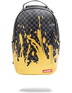 53241035e176ea Sprayground - Gold Checkered Drips Backpack: Amazon.co.uk: Clothing