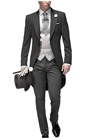 Jydress Mens Tail Tuxedo 3 Pieces Tailcoat Suit Gray Groom Tuxedos