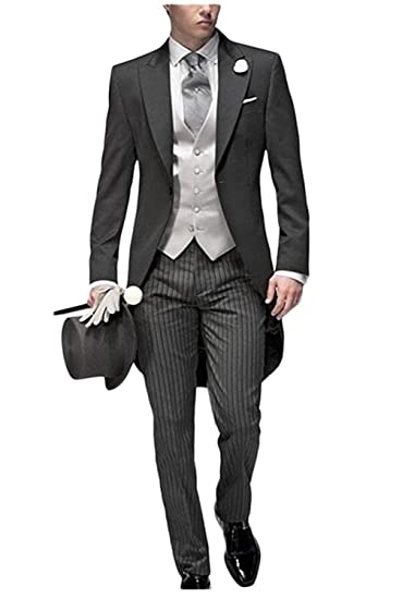 JYDress Mens Tail Tuxedo 3 Pieces Tailcoat Suit Gray Groom Tuxedos ...
