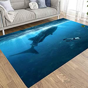 EMMTEEY 5x7 Farmhouse Area Rug of Indoor Outdoor Kids,Boys,Girls Area Rugs Use Swimming with Whale Sharks