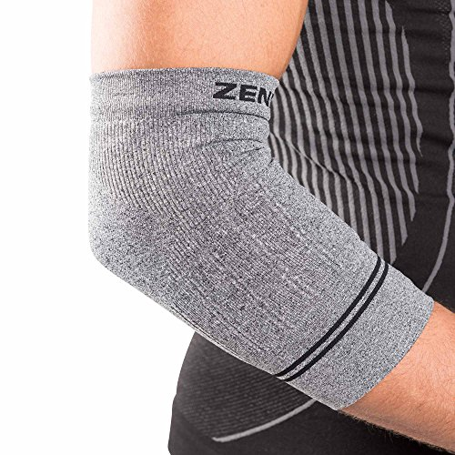 UPC 812589018297, Zensah Compression Tennis Elbow Sleeve for Elbow Tendonitis, Tennis Elbow, Golfer's Elbow - Elbow Support, Elbow Brace,Large,Heather Grey