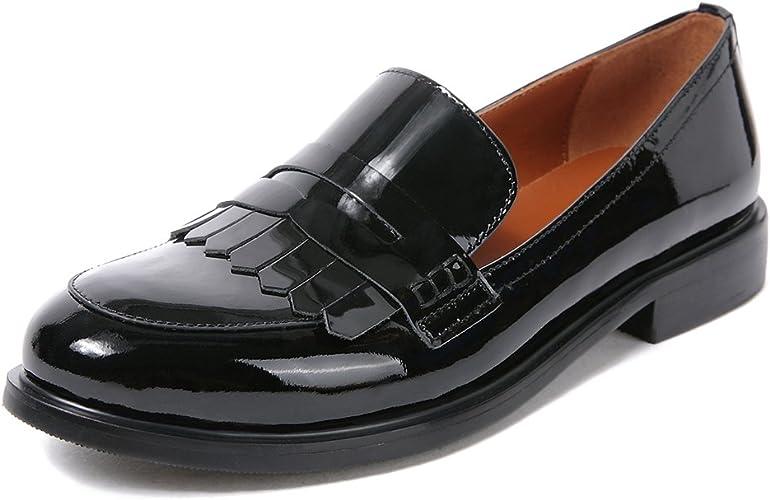 Womens Ladies Slip On Pumps Moccasins Tassel College Platform Loafers Boat Shoes