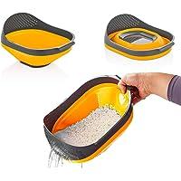 Qlux Ideas Colador plegable – Colador de arroz de cocina de silicona y cuenco de lavado – Capacidad de 3 litros – Cesta…