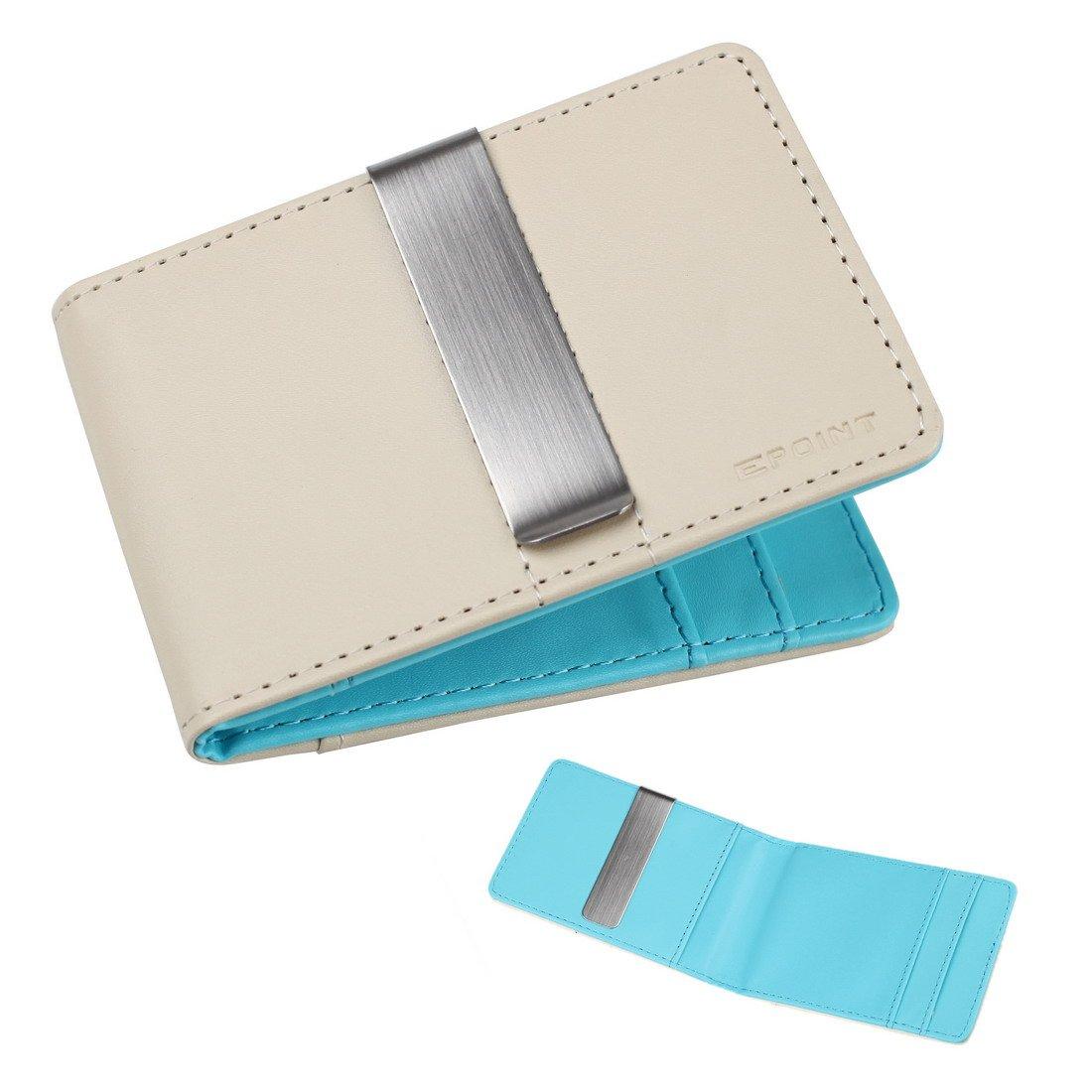 ECM08A07 Beige Blue World Wide Cartera de cuero Clip de dinero de acero inoxidable y 4 titulares de tarjeta de inspiraciš®n de moda por Epoint: Amazon.es: ...