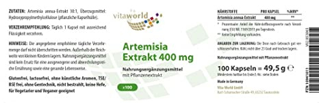 Amazon.com: Extracto de Artemisia Annua 400mg 100 Cápsulas Vegetales Ajenjo Dulce Qing hao Vita World Alemania: Health & Personal Care