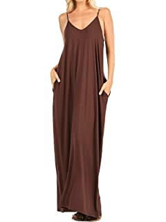 dfa10a8de8316 MixMatchy Women's Summer Casual Plain Flowy Pockets Loose Beach Cami Maxi  Dress