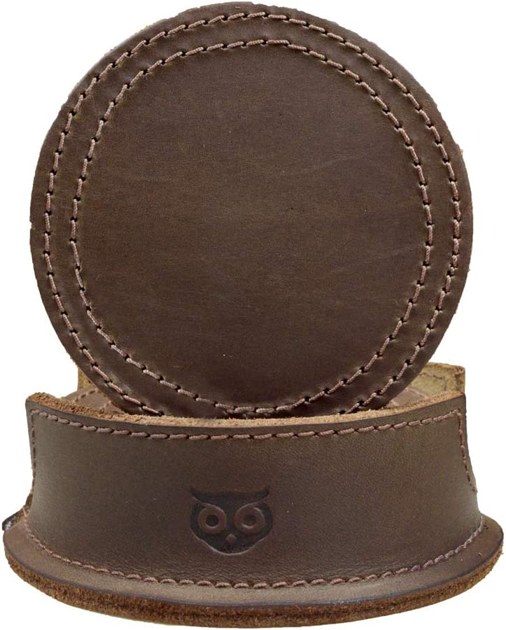 Durable Thick Leather Coasters (6-Pack) Handmade by Hide & Drink :: Bourbon Brown