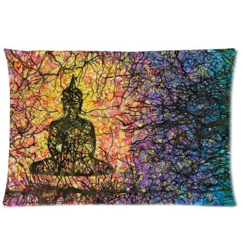 Yoga Buddha Throw Pillow Case Decorative Cushion Cover Pillowcase 20x30 (twin sides) Zippered for Sofa
