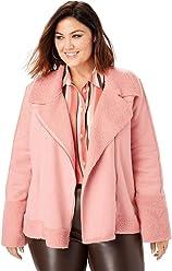3860ab846ff Roamans Women s Plus Size Faux-Shearling Moto Jacket