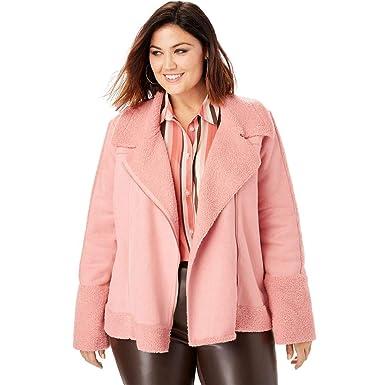 b0c802d3ff5 Roamans Women s Plus Size Faux-Shearling Moto Jacket at Amazon Women s Coats  Shop