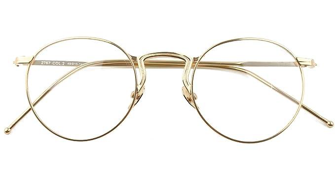 Agstum redondo Cuerno con borde Metal receta listo gafas marco lente ...