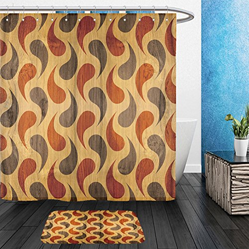 Vanfan Bathroom 2?Suits 1 Shower Curtains & ?1 Floor Mats abstract decorative panels interior wall decoration wrapping paper design wallpaper 272711756 From Bath room (Zig Zag Papers Halloween Costumes)