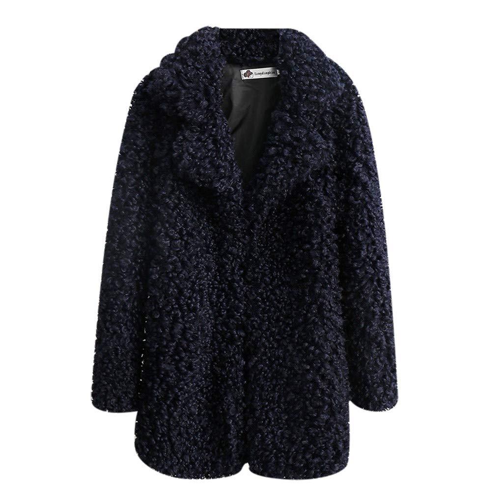 Shusuen Women's Fleece Furry Fuzzy Open Front Winter Coat Solid Color Outwear Jackets Dark Blue by Shusuen_Clothes