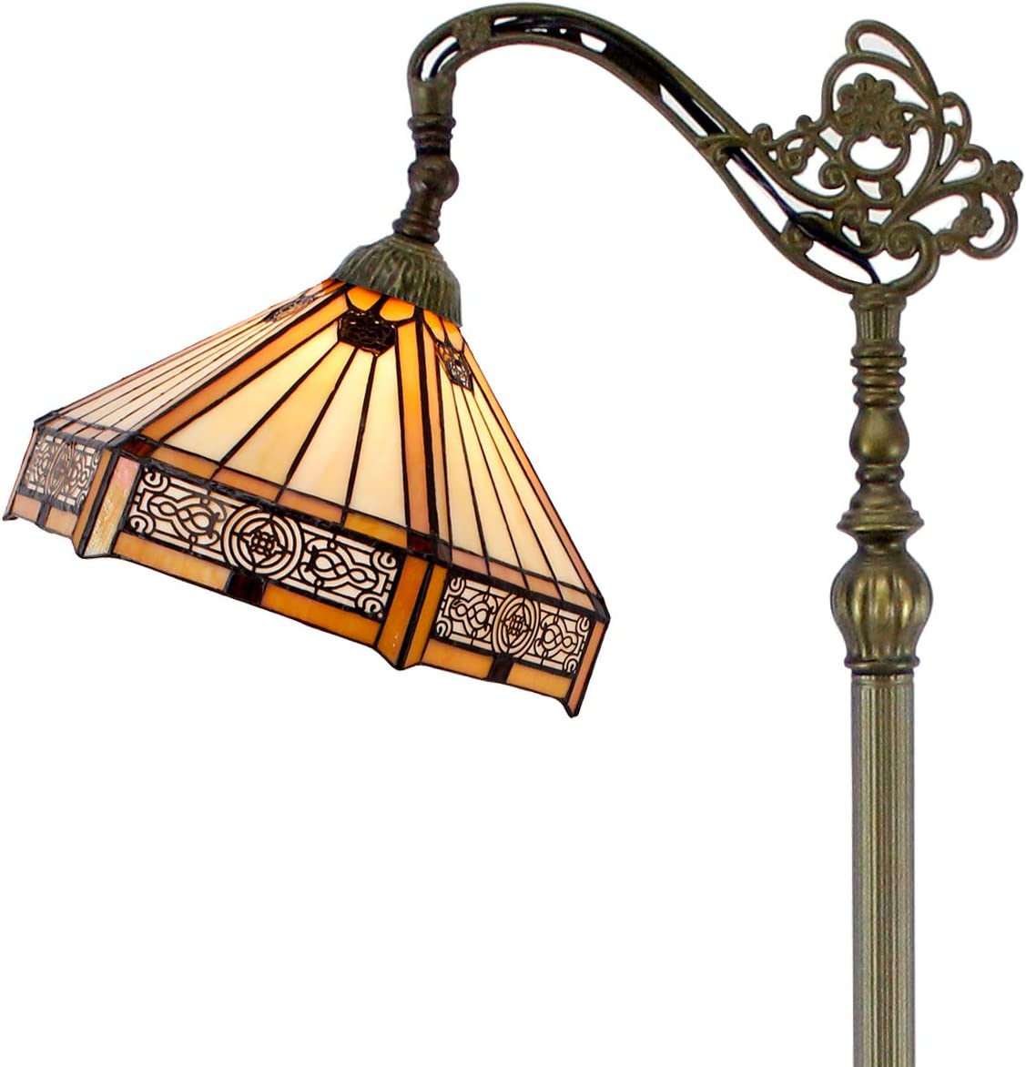 Tiffany Mission Style Reading Floor Lamp Yellow Hexagon Stained Glass Lampshade in 64 Inch Tall Antique Arched Adjust Base for Living Room Bedroom Bedside Desk Coffee Table S011 WERFACTORY