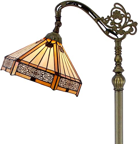 Tiffany Mission Style Reading Floor Lamp Lighting W12H64 Inch Yellow Stained Glass Hexagon Lampshade Antique Adjustable Arched Base S011 WERFACTORY Lamps Living Room Bedroom Beside Table Desk Gift
