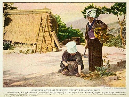 1922 Color Print Costume Matsudake Mushrooms Japanese Fashion Women Image NGM8 - Original Color Print