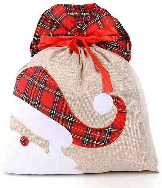 Christmas Xmas Stockings Sack Santa Present Gift Drawstring Bags Cotton Fabric