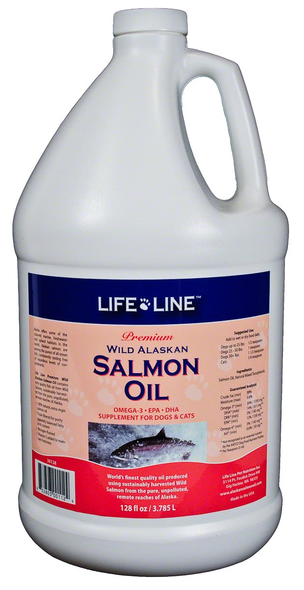Life Line Wild Alaskan Salmon Oil for Dogs and Cats, 128-Ounce