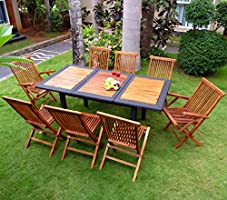 Muebles de madera de teca y resina de mesa y sillas de jardín 8 ...