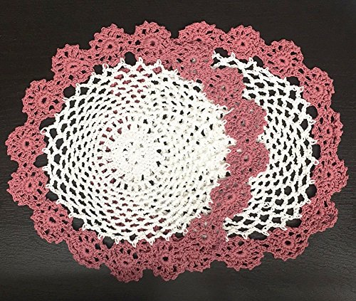 Fennco Styles Handmade Two Tone Floral Crochet Tray Cloth Doily, 9-inch Round, 2 Pieces, 7 Colors (Dusty Rose)