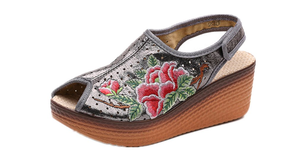 Tianrui Crown Women And Ladies Embroidery Wedge Sandal Shoes Platform Sandals B0732P79JJ 5 B(M) US|Gray