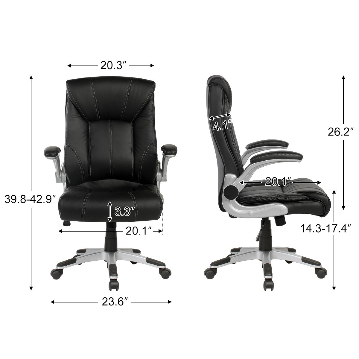 YAMASORO Ergonomic High-Back Executive Office Chair PU Leather Computer Desk Chair with Flip-up Arms and Back Support by YAMASORO (Image #8)