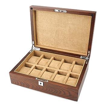 Organizador de cajas de reloj Lujo 10 Relojes Tragamonedas Caja de reloj de madera con cerradura ...