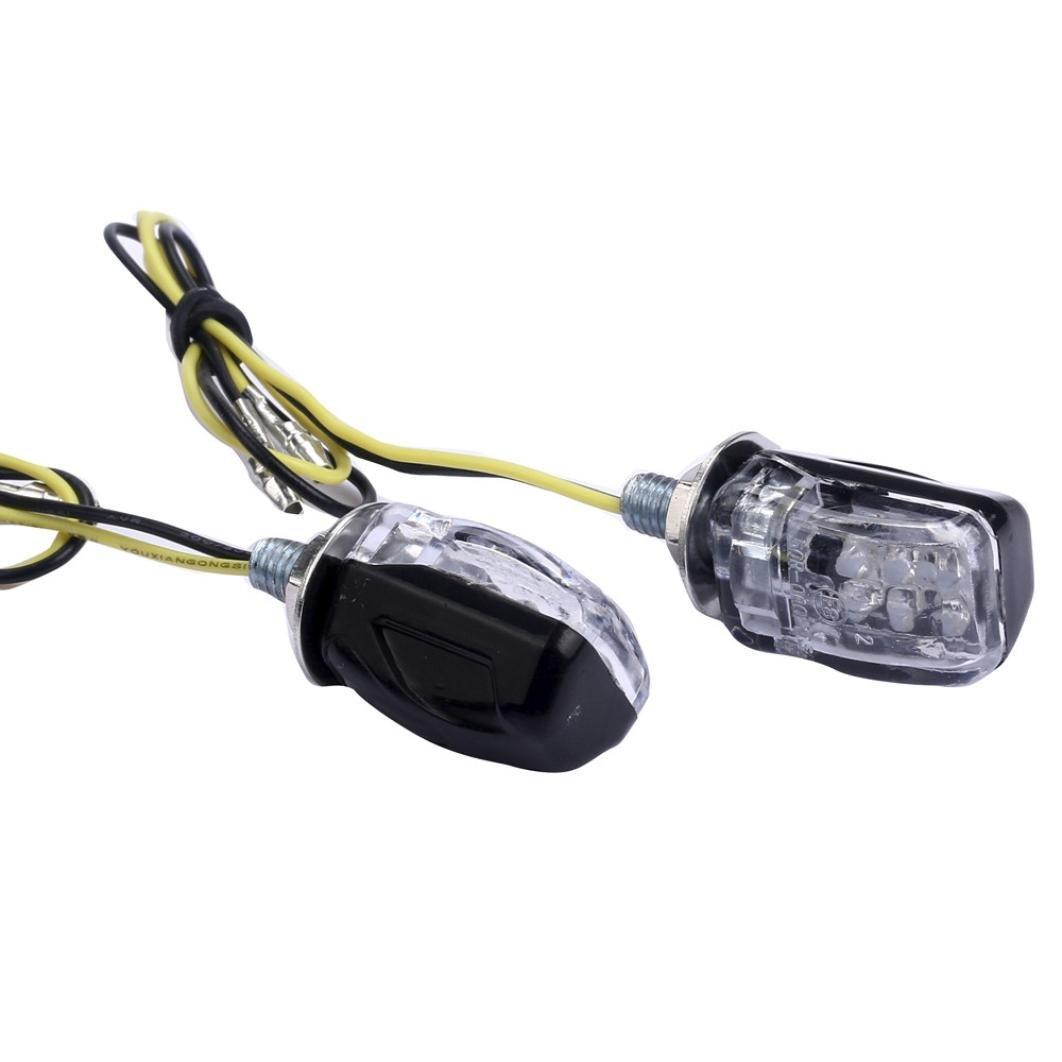 Quaanti New 2 X 6LED Motorcycle Mini Amber Turn Signal Lights Blinker Indicator Motorcycle Accessories (Black)