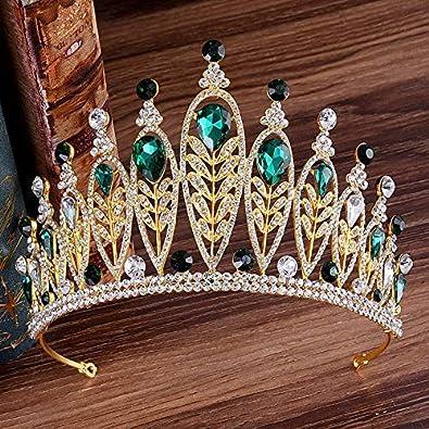 Jingyuu Couronnes Princesse de Diad/èmes Mariage Diad/ème Couronne danniversaire Cristal Strass Couronne Tiare