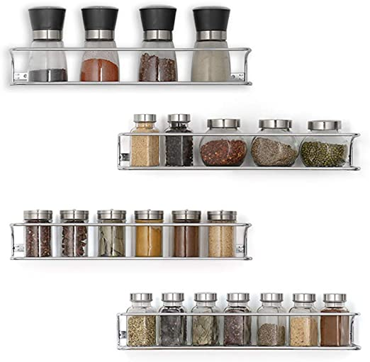 Set of 4 NEX Wall Mount Spice Racks for Kitchen Storage Big Size