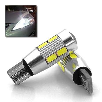 Ociodual 2X Bombillas T10 W5W 10 LED SMD 5630 Coche Blanco CANBUS Posicion Interior 6500K: Amazon.es: Electrónica