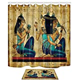 NYMB Egyptian Decor,Female Sex 69X70in Mildew Resistant Polyester Fabric Shower Curtain Suit With 15.7x23.6in Flannel Non-Slip Floor Doormat Bath Rugs