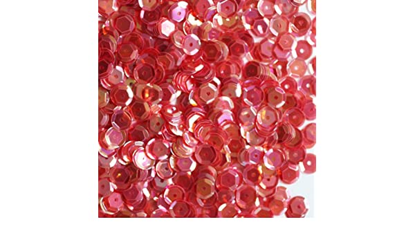 6mm Cup SEQUIN FACET Loose PAILLETTES ~ CORAL PINK CRYSTAL Rainbow Iris ~ USA